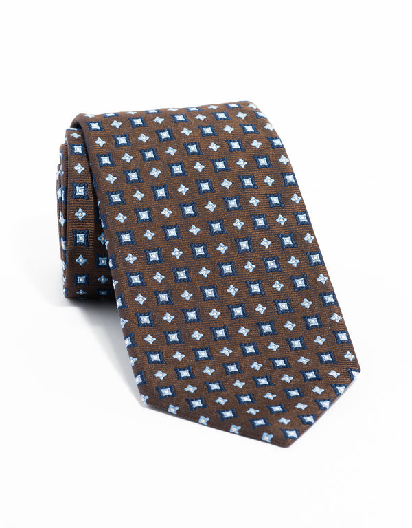 ALLOVER NEAT TIE - BROWN