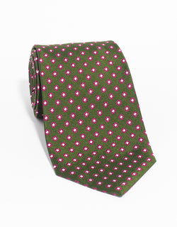 SILK FOULARD NEAT MADE IN US TIE - HUNTER