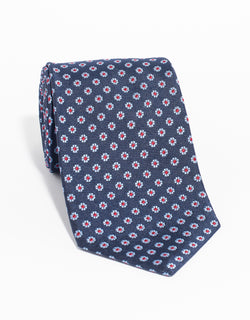 SILK FOULARD NEAT MADE IN US TIE - NAVY