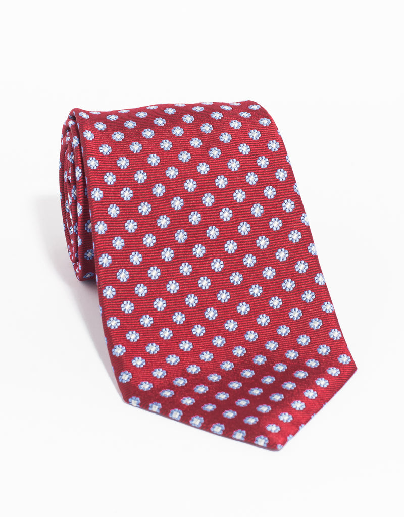 SILK FOULARD NEAT MADE IN US TIE - RED