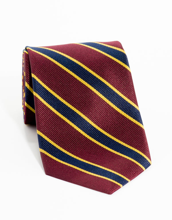 BORDER STRIPE - BURGUNDY/NAVY/GOLD