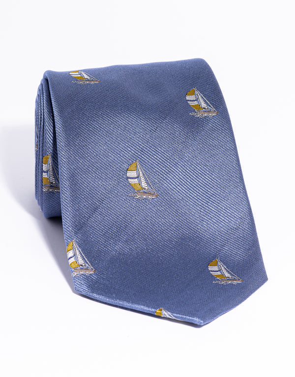 J. PRESS EMBLEMATIC SAILBOAT TIE - BLUE