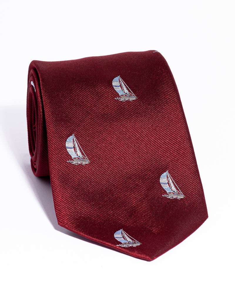 EMBLEMATIC SAILBOAT TIE - RED