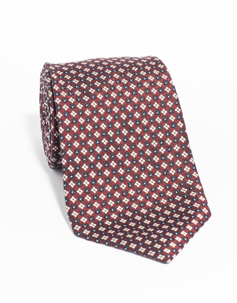 MACCLESFIELD NEAT MADE IN US TIE - BURGUNDY