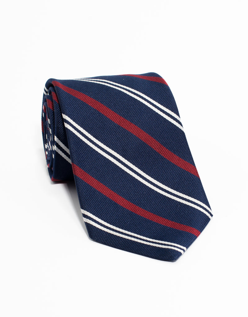 TRADITIONAL STRIPE TIE - NAVY/WHITE/RED