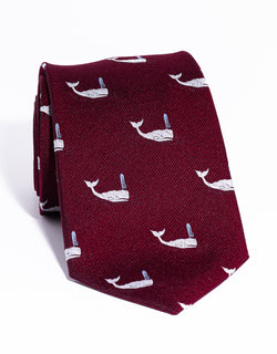 J. PRESS EMBLEMATIC WHALE TIE - RED