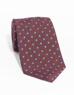 SILK CIRCLE NEAT MADE IN US TIE - BURGUNDY