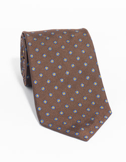 SILK CIRCLE NEAT MADE IN US TIE - BROWN