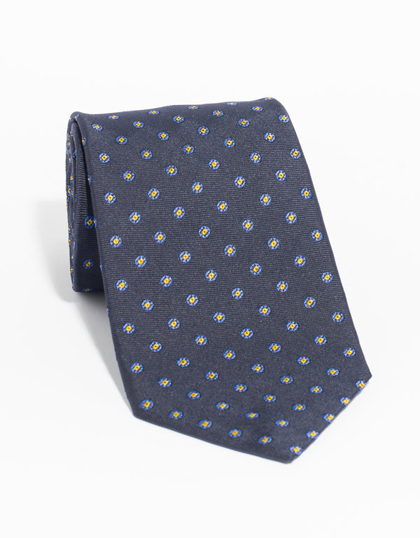 SILK CIRCLE NEAT MADE IN US TIE - NAVY