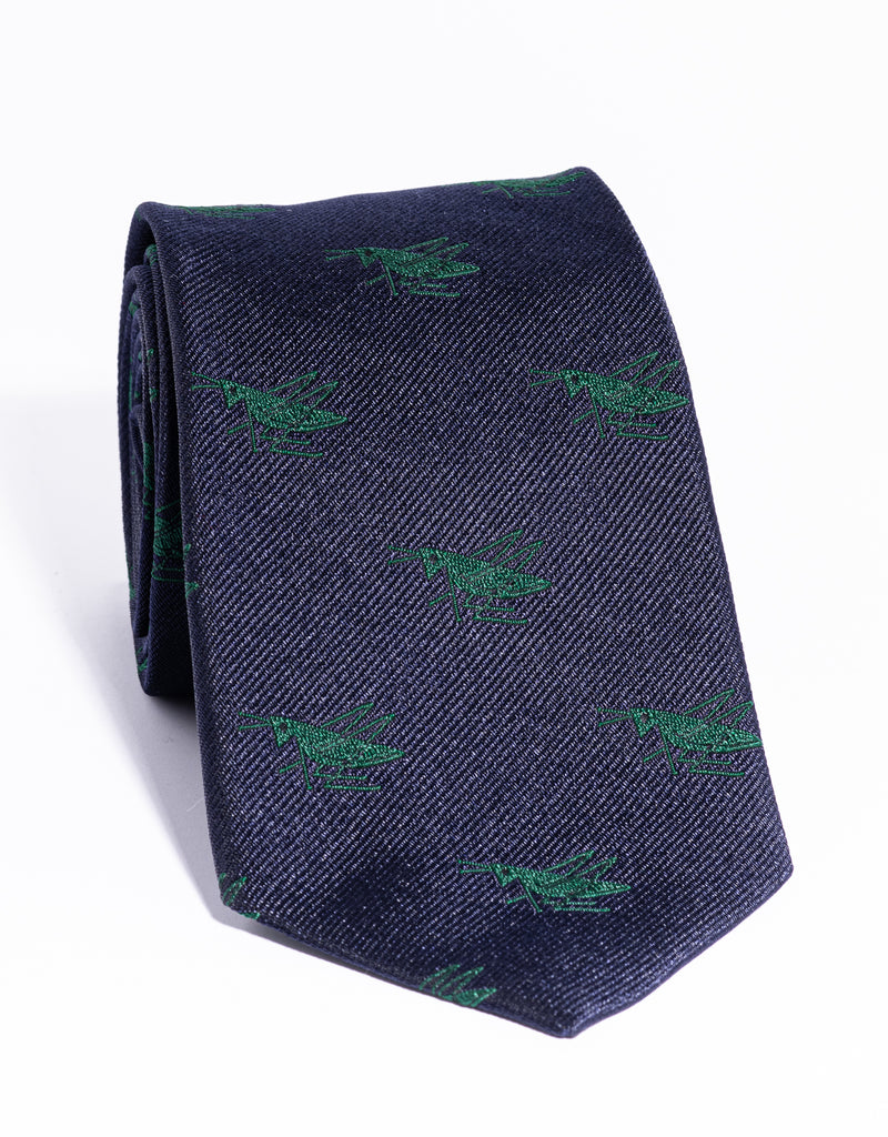 J. PRESS EMBLEMATIC CRICKET TIE - NAVY/GREEN