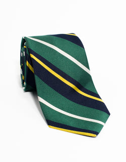 TRADITIONAL STRIPE TIE - GREEN/NAVY/YELLOW/WHITE