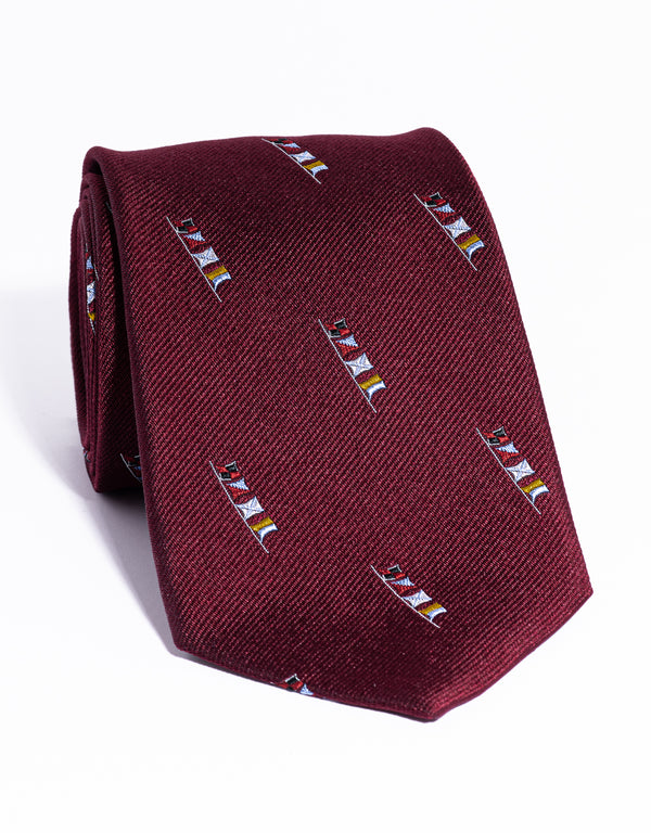 J. PRESS EMBLEMATIC SAILING FLAGS TIE - BURGUNDY