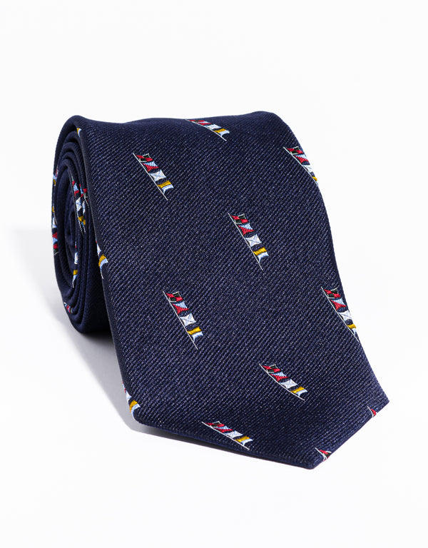J. PRESS EMBLEMATIC SAILING FLAGS TIE - NAVY