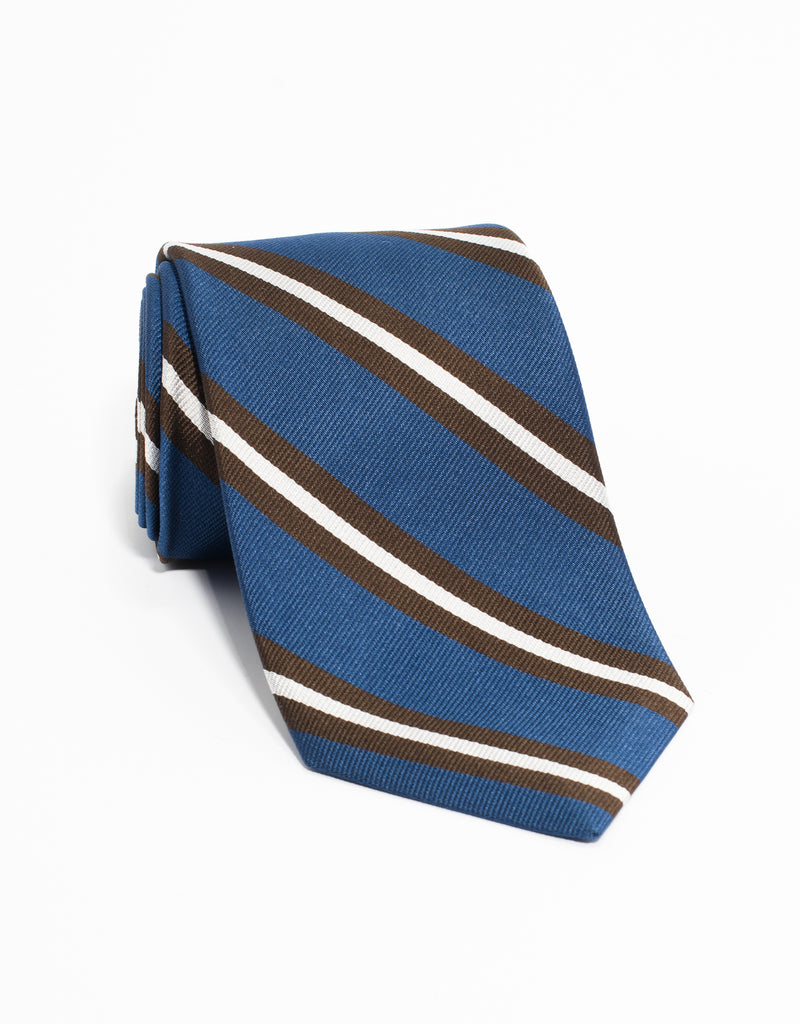 TRADITIONAL STRIPE TIE - LIGHT BLUE/BROWN/WHITE
