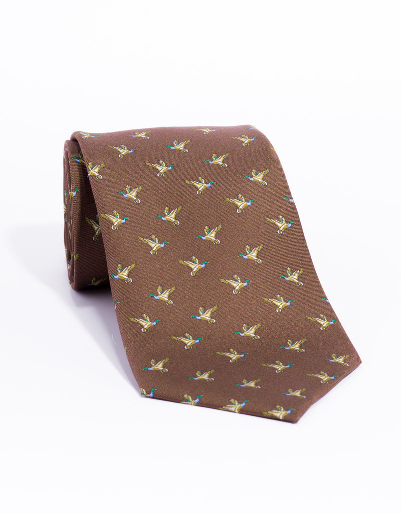 PRINTED PHEASANT MADE IN US TIE - BROWN