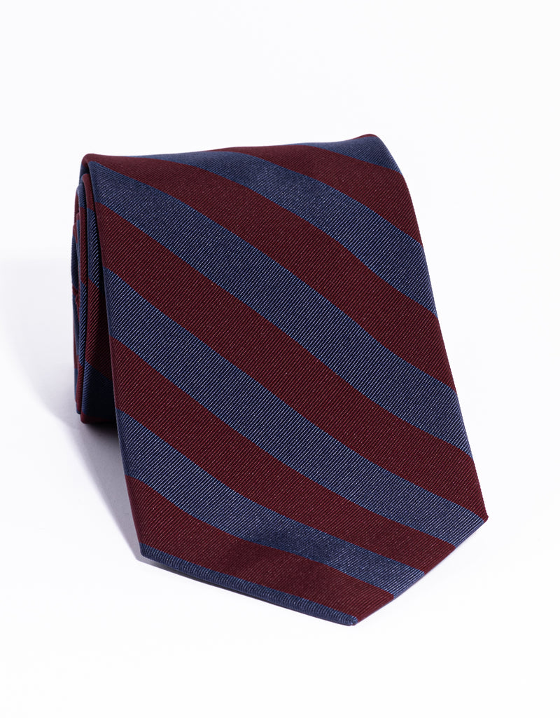 J. PRESS MOGADOR EVEN STRIPE TIE - NAVY/BURGUNDY
