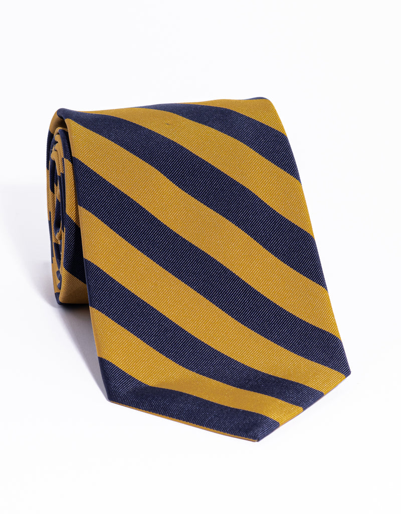 J. PRESS MOGADOR EVEN STRIPE TIE - NAVY/GOLD