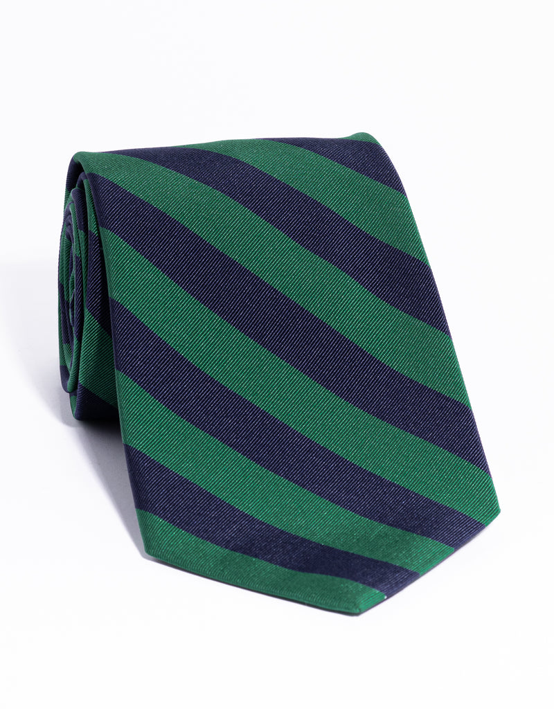 J. PRESS MOGADOR EVEN STRIPE TIE - NAVY/KELLY