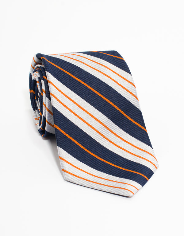 AUTHENTIC REGIMENTAL TIE - SILVER/NAVY/ORANGE