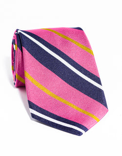 J. PRESS LARGE MULTI STRIPE TIE - NAVY/PINK
