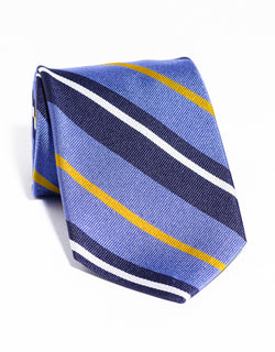 J. PRESS LARGE MULTI STRIPE TIE - NAVY/PURPLE