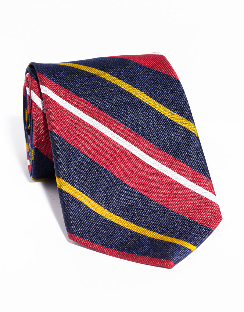 J. PRESS LARGE MULTI STRIPE TIE - NAVY/RED