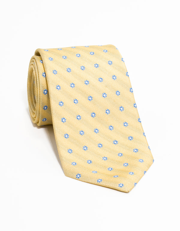 FLOWER NEAT TIE - YELLOW