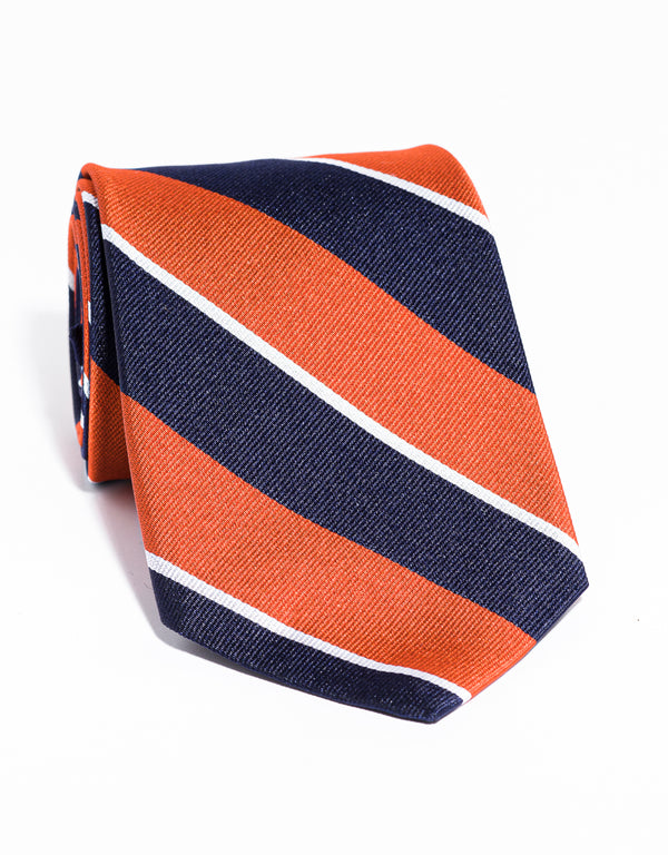 J. PRESS MULTI STRIPE TIE - NAVY/ORANGE