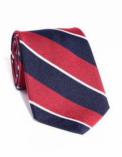 J. PRESS MULTI STRIPE TIE - NAVY/RED