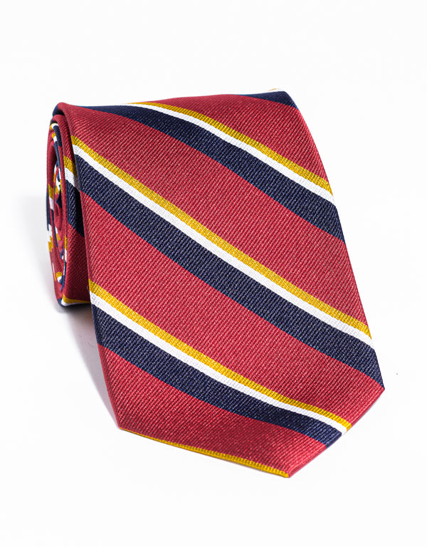 J. PRESS MULTI STRIPE TIE - RED/NAVY/GOLD