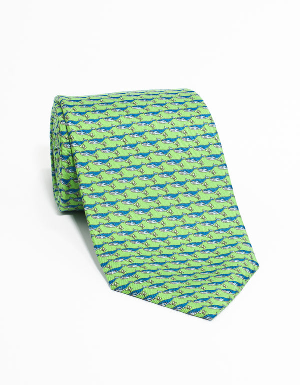 PRINTED WHALE TIE - GREEN