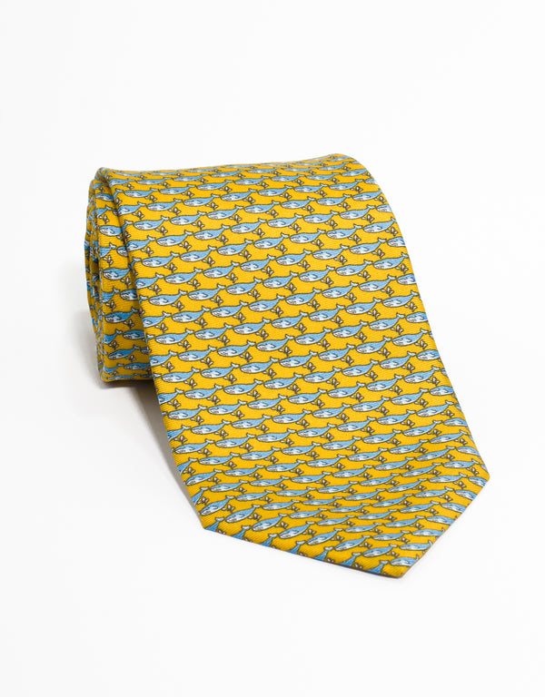 PRINTED WHALE TIE - YELLOW