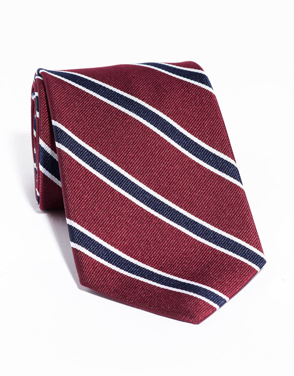 J. PRESS CLASSIC SPACED BAR STRIPE TIE - BURGUNDY/NAVY