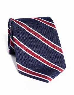 J. PRESS CLASSIC SPACED BAR STRIPE TIE - NAVY/RED
