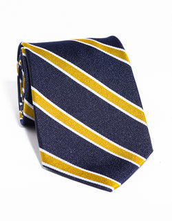 J. PRESS CLASSIC SPACED BAR STRIPE TIE - NAVY/GOLD