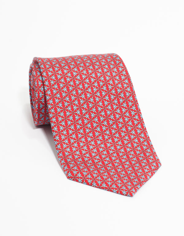 PRINTED GEOMETRIC TIE - RED