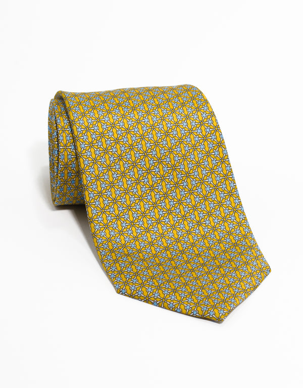 PRINTED GEOMETRIC TIE - YELLOW