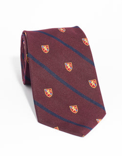 CREST WITH SINGLE BAR TIE - BURGUNDY