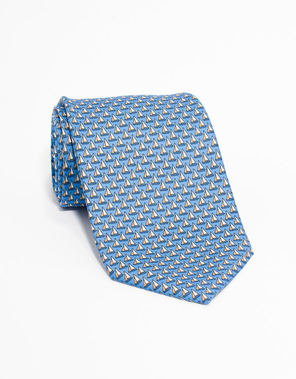 PRINTED SAILBOAT TIE - BLUE