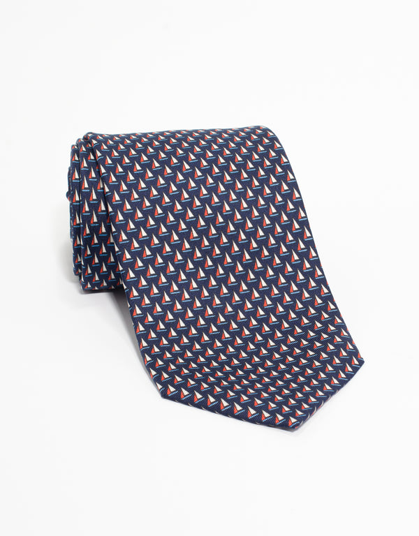 PRINTED SAILBOAT TIE - NAVY
