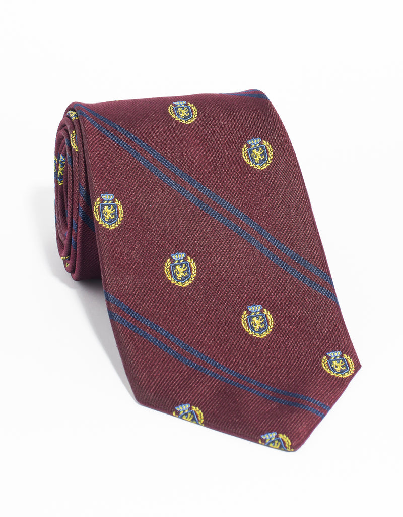 CREST WITH DOUBLE BAR TIE - BURGUNDY