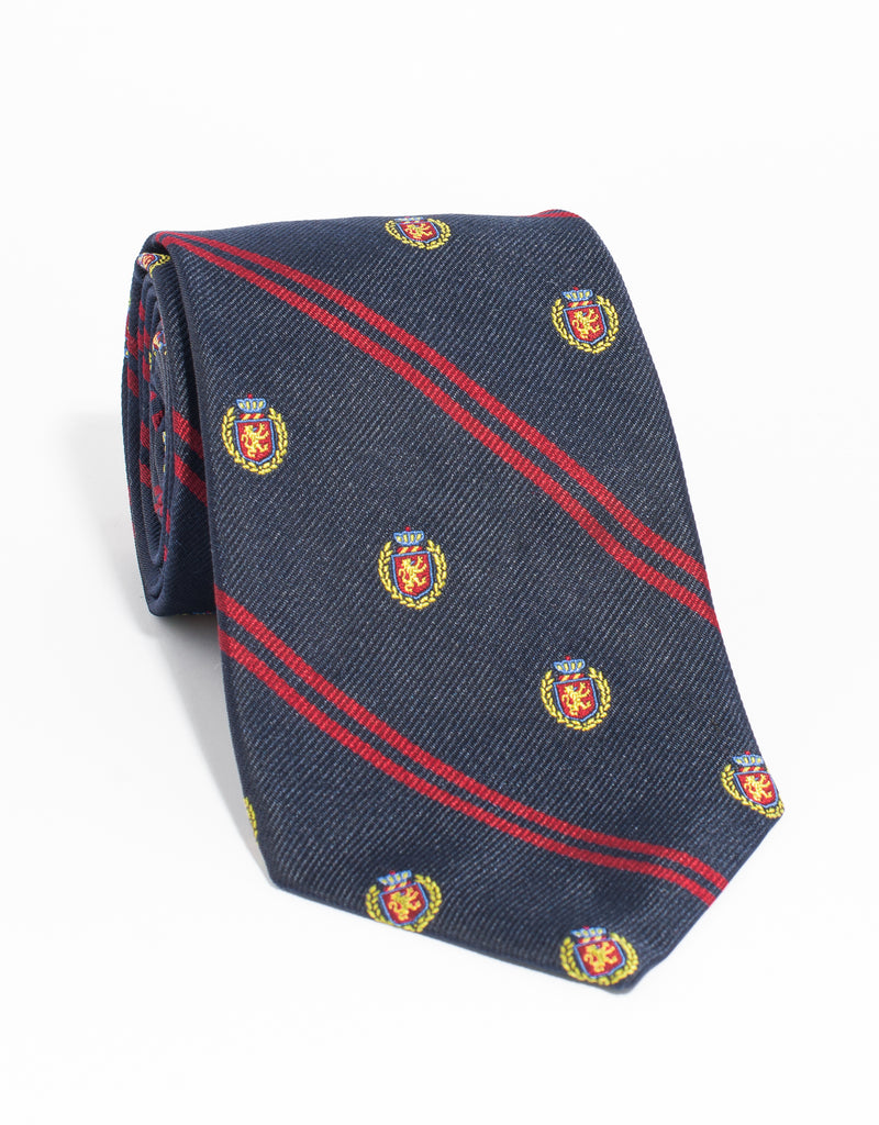 CREST WITH DOUBLE BAR TIE - NAVY