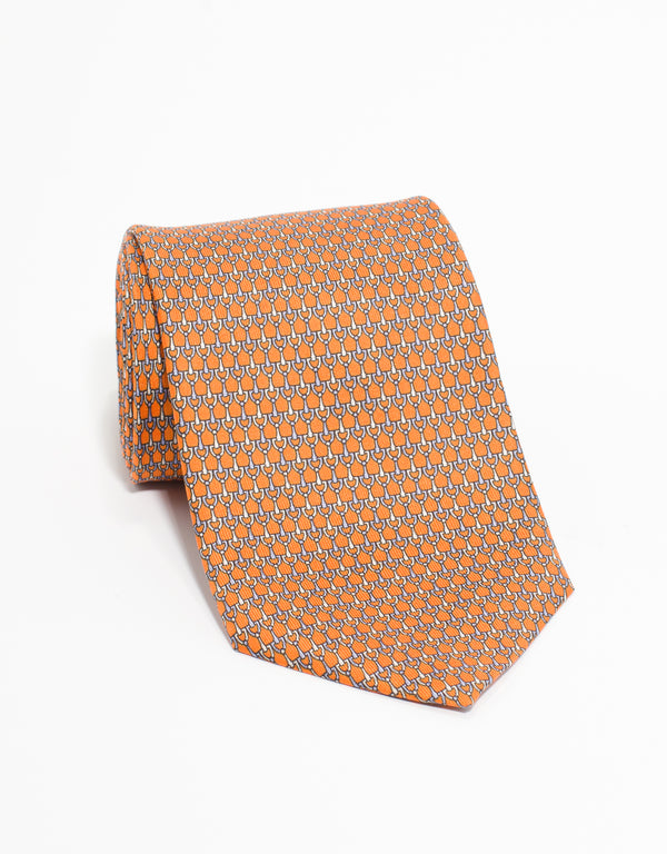 PRINTED LINKS TIE - ORANGE
