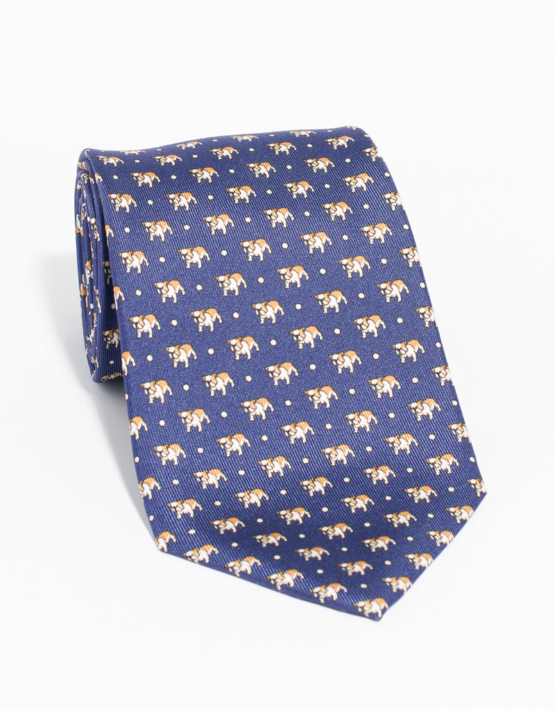 PRINTED BULLDOG WITH DOTS TIE - BLUE