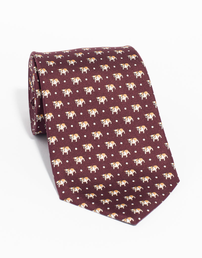PRINTED BULLDOG WITH DOTS TIE - BURGUNDY