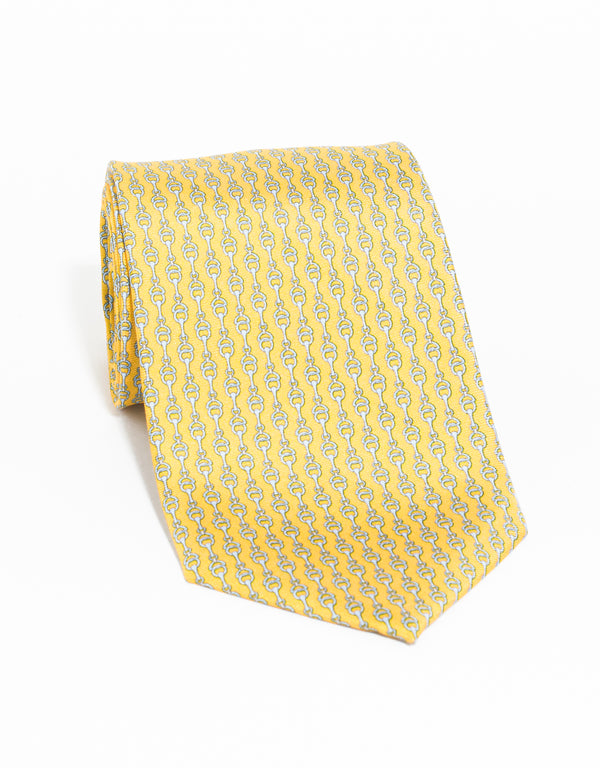 PRINTED LINKS TIE - GOLD