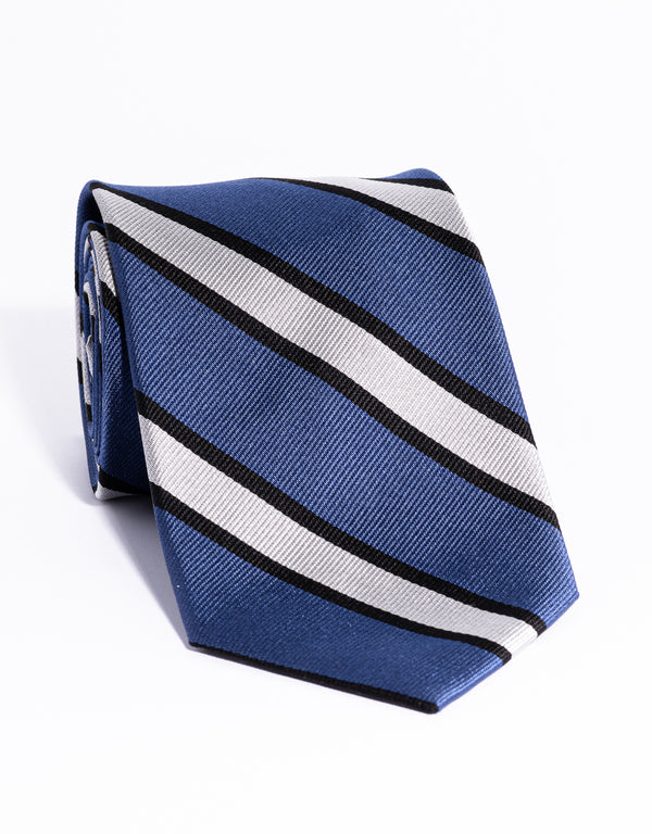J. PRESS AUTHENTIC REGIMENTAL TIE - BLUE/WHITE/NAVY