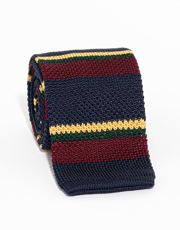 SILK KNIT TIE NAVY/BURGUNDY/GOLD/GREEN