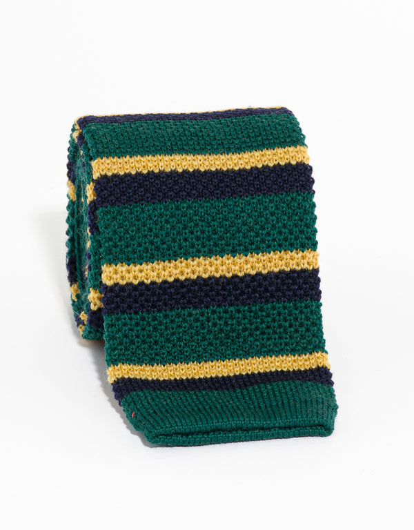 SILK KNIT TIE GREEN/NAVY/GOLD