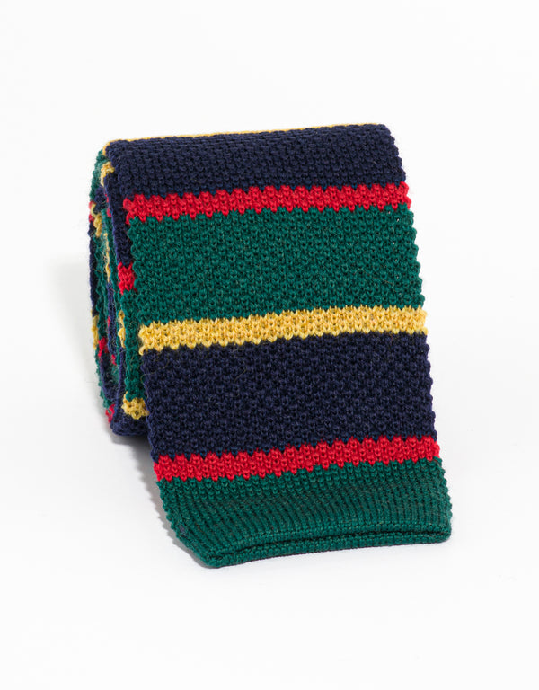 SILK KNIT TIE GREEN/NAVY/GOLD/RED